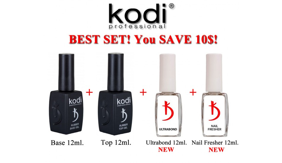 Kodi Base 12ml + Top 12ml + Ultrabond 12ml + Nail Fresher 12ml