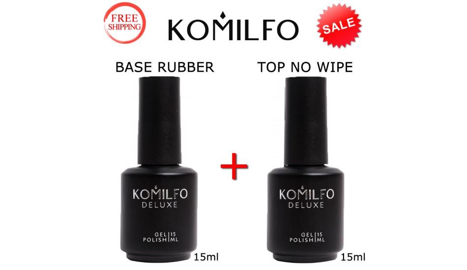 KOMILFO Base Rubber 15ml. + Top No Wipe 15ml.