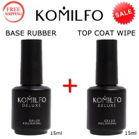 KOMILFO Base Rubber 15ml. + Top Wipe 15ml.