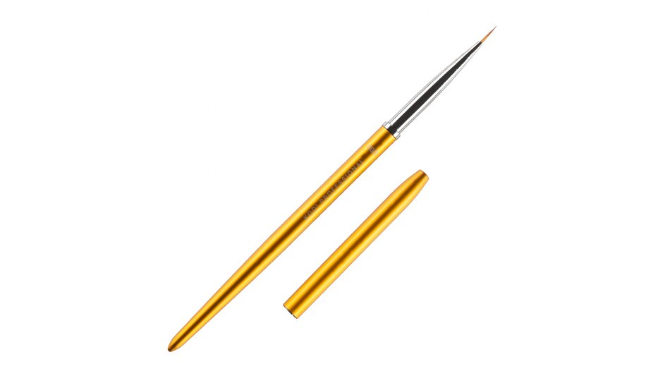 BRUSH FOR PAINTING № 00 / 3 (NYLON; HANDLE: METAL, ACRYL; COLOR: GOLD)